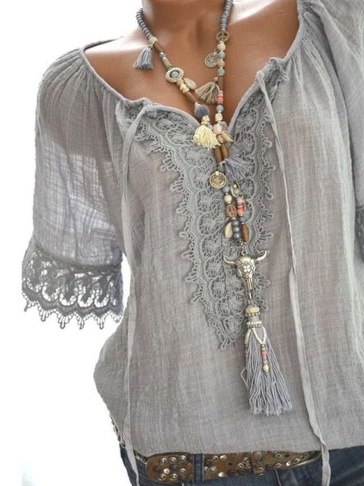 Tie Collar Decorative Lace Plain Short Sleeve Blouses