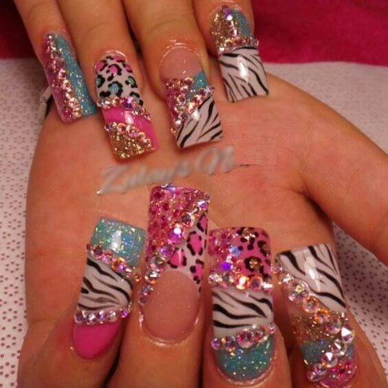 Black and white with rainbow leopard print.