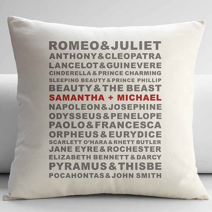 Personalized famous couples throw pillow cover from RedEnvelope.com. A great newlywed, wedding anniversary or Valentine's Day gift!