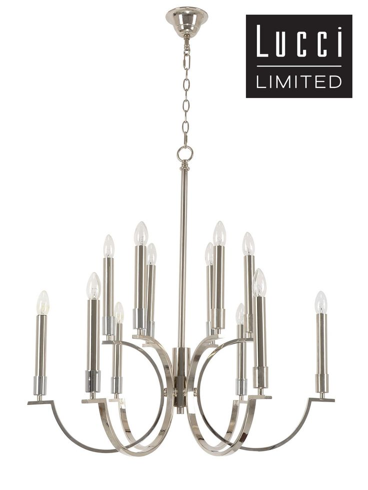 Leon 12 Light Pendant in Polished Nickel
