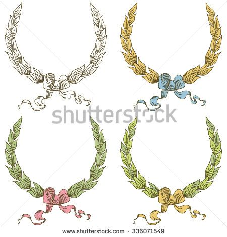 Vector hand drawn laurel wreath with bow - stock vector