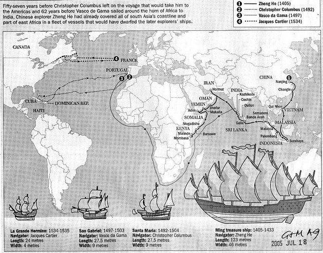 "Between 1405 and 1433, Ming China sent out enormous armadas of ships into the Indian Ocean, commanded by the eunuch admiral Zheng He. The flagship and other largest treasure junks dwarfed European ships of that century; Christopher Columbus's flagship, the Santa Maria, was between 1/4 and 1/5 the size of Zheng He's. Incredibly, the largest ships in the fleet (called baoshan, or ""treasure ships"") were roughly 1/3 to 1/2 the displacement of modern American aircraft carriers."