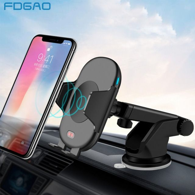 FDGAO 10W Car Automatic Qi Fast Wireless Charger Mobile