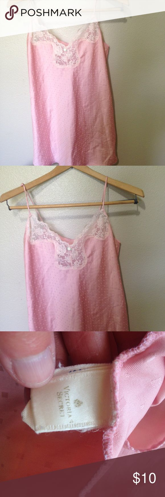 Vintage Victoria's Secret nightgown size medium Brand- Victoria's Secret-   In perfect condition to be a vintage piece- no flaws, stains,fading ect- women's nighty size medium- the straps are so cute with knots on them- 100% Polyester- GOLD and White Label which was the secret label and the first label from the early 80s- perfect to wear and a jewel to collectors Victoria's Secret Intimates & Sleepwear