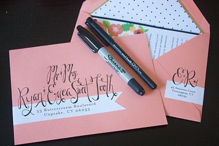 Tutorial on fake calligraphy for wedding invitations