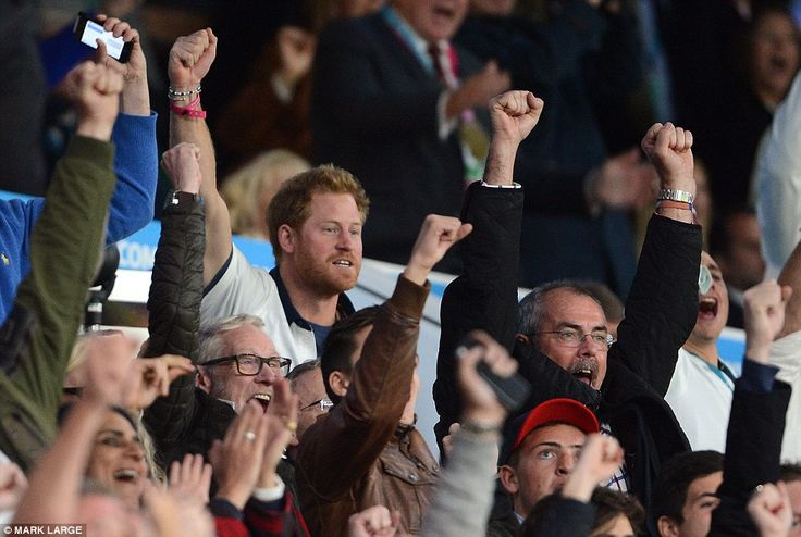 dailymail:  England vs. Wales, Rugy World Cup, Twickenham Stadium, September 26, 2015-Prince Harry, Patron of the English team, cheers an English goal