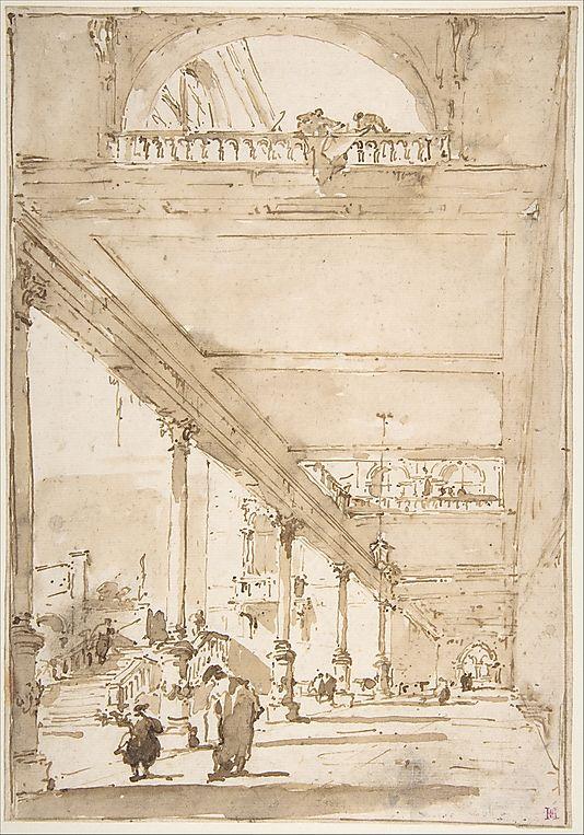 Francesco Guardi - Architectural Capriccio:  A Palace Colonnade.