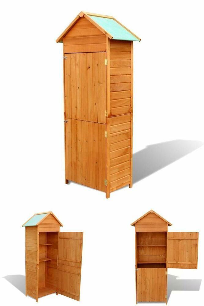 details about wooden garden tool shed outdoor storage cabinet rh pinterest com