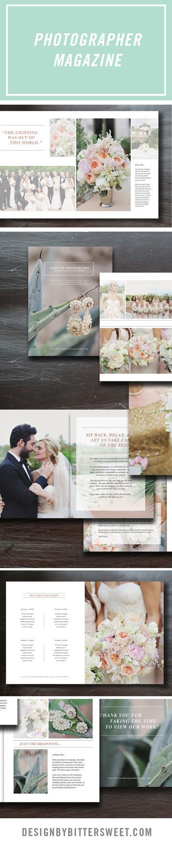 "Wedding Photography Marketing Magazine Template. Attract your ideal clients with this customizable guide. Includes 26 8.5"" X11"" pages of professionally written text complete with about page 