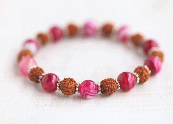 Rudraksha bracele/Pink Agate/Fucsia/seeds/indian/healing