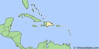 Map showing the location of Punta Cana. Click map to see the location on our worldwide Time Zone Map.