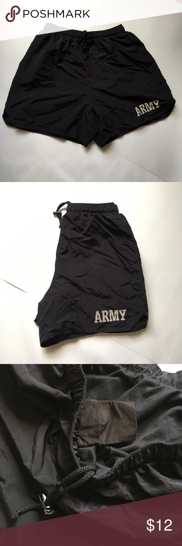 """Army Shorts Physical Training Trunks Uniform Army PT Shorts, IPFU Physical Fitness Training Trunks, Black, Military Uniform  Features:  -waist band -small waist pocket  Size and Measurements: - No size but best fit for S-L (small-large) - Length: 15.5"""" - Waist relaxed: 23"""" - Waist stretched: 38""""  Flaws:  None army Shorts Athletic"""