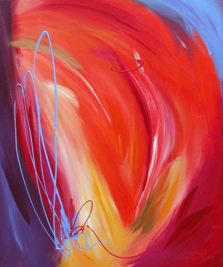 Fire (Rood abstract schilderij kunstwerk liefde liefdesvuur)