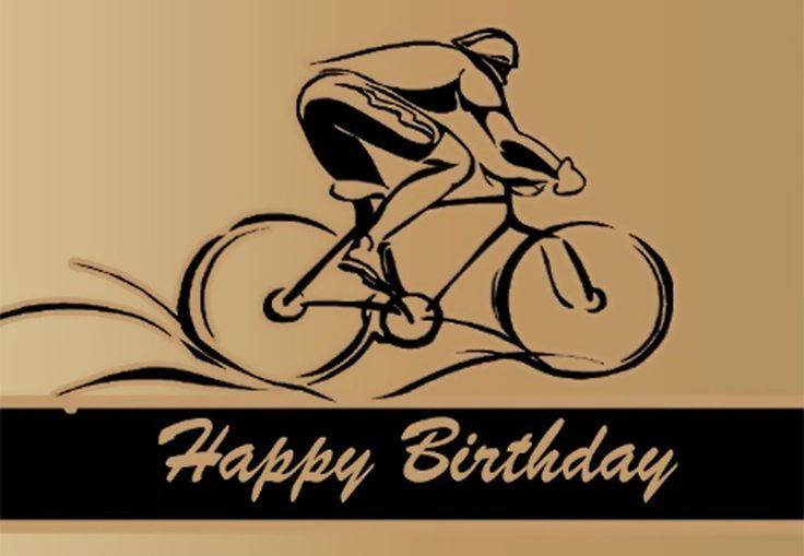 Открытка с днем рождения мужчине с велосипедом, летием