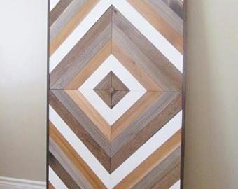 Wood Wall Art, Chevron Wall Art, Reclaimed Wood Wall Hanging, Table Top, Wall Sculpture, Chevron Wood, Salvaged Wall, Geometric Wood Art