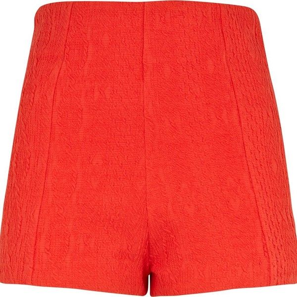 River Island Red cable knit high waisted smart shorts ($31) ❤ liked on Polyvore
