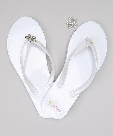 White Flip-Flop & Flower Charm Set #zulily #zulilyfinds