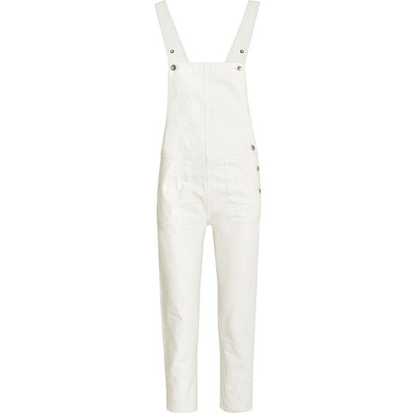 MiH Jeans Cylla denim overalls ($385) ❤ liked on Polyvore featuring jumpsuits, jumpsuit, rompers/playsuits, white, white jump suit, playsuit romper, denim romper, romper jumpsuit and denim jumpsuit