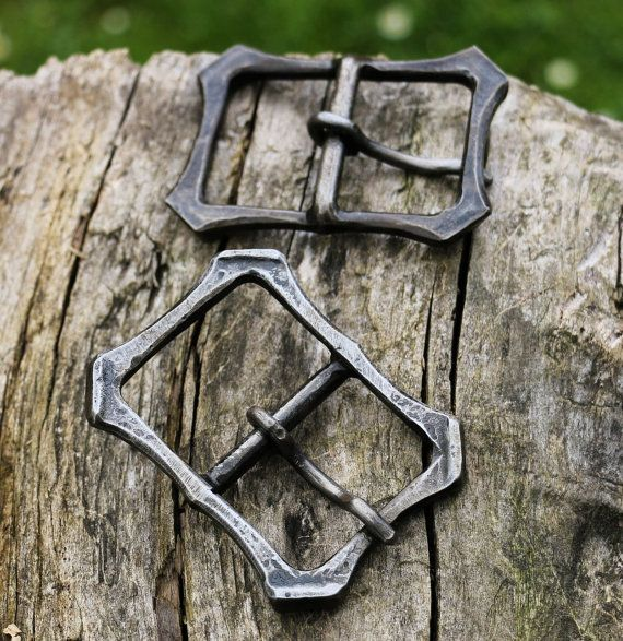Forged Belt Buckle Hand Hammered Iron Steel Medieval Renaissance Accessory for Leather Belts Smithy Works Workshop