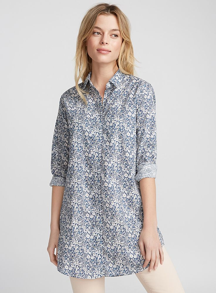 Liberty print tunic - Blouses & Shirts - Patterned Blue