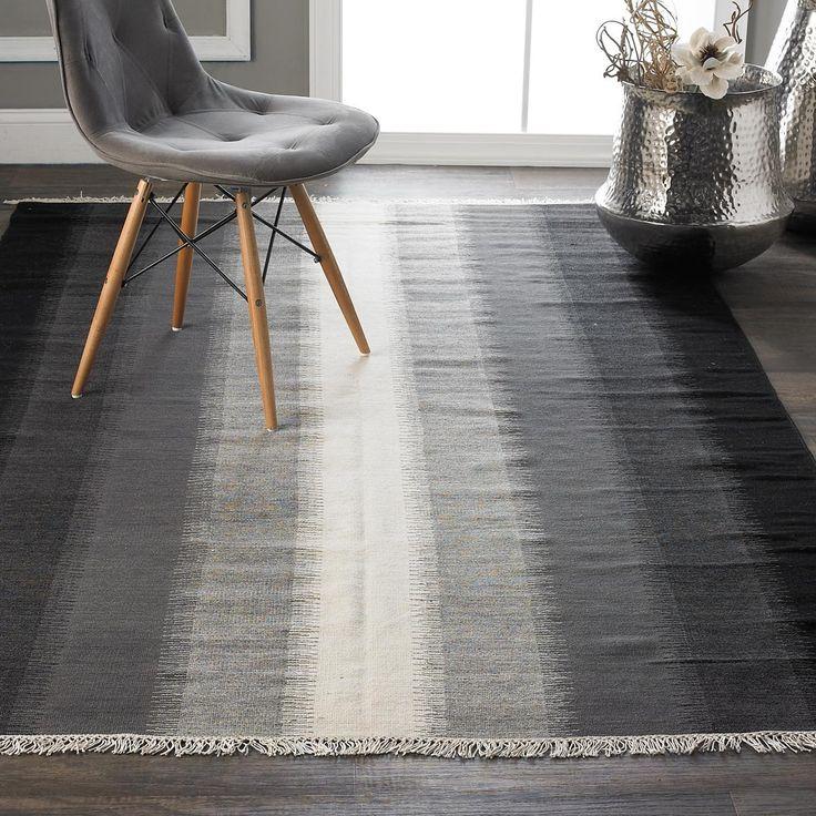 Modern Charcoal Stripe Kilim Rug