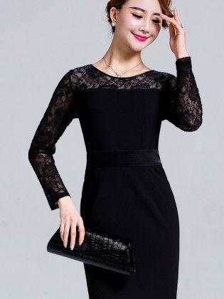 Đầm nhung đen dài tay phối ren sang trọng TV528