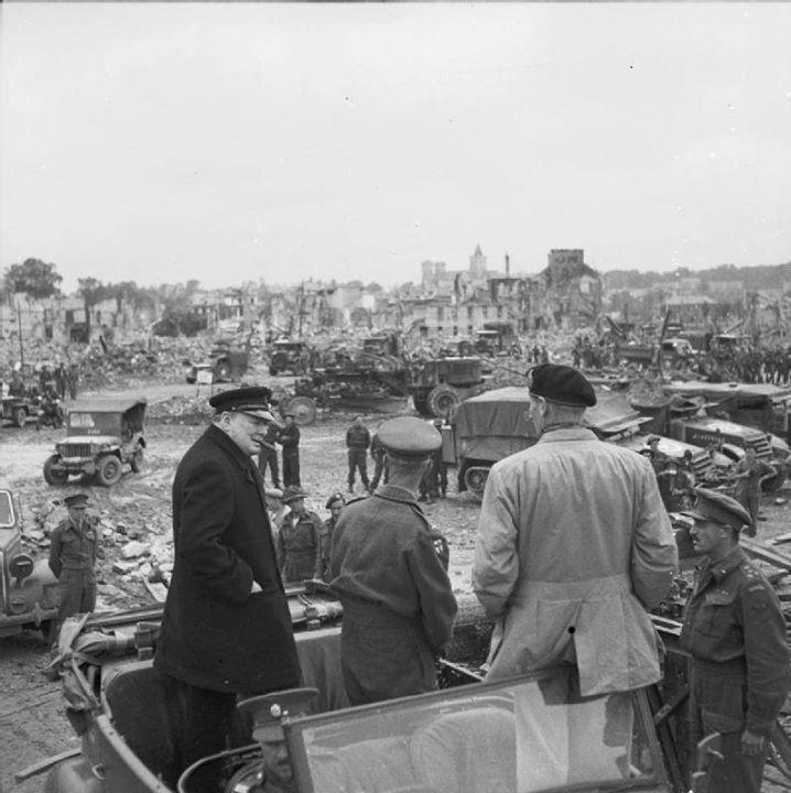 Winston Churchill and Bernard Montgomery observe destruction at Caen France 22 July 1944