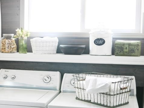 If your favorite dryer sheets' package clashes with your color palette, transfer the contents into a container that's more in line with the decor. Stacy Risenmay of the blog Not Just a Housewife chose an old metal box that adds the perfect patina to her laundry room.
