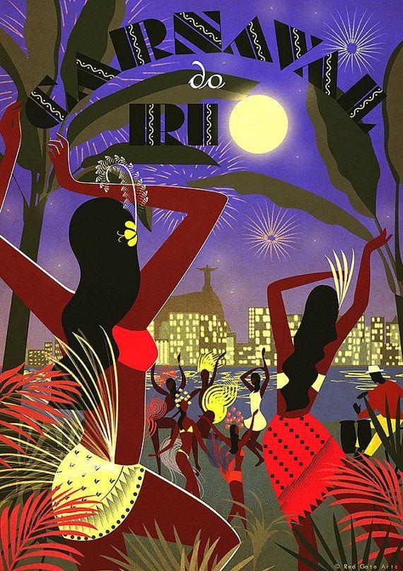 "Original Design Art Deco A3 A2 A1 Poster Bauhaus ""Vintage Rio Carnival"" South America Dance Samba Music Cityscape Tropical Travel Hawaii."