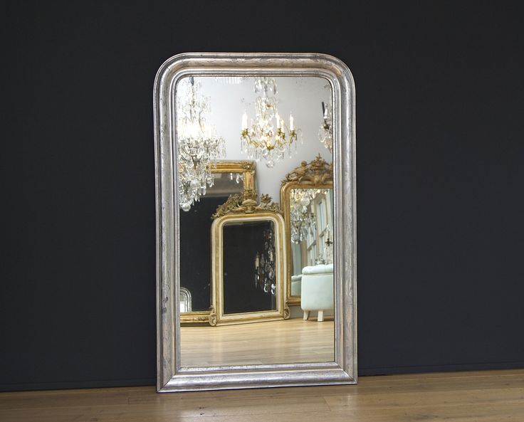 Antieke Franse spiegel Louis-Philippe bladzilver