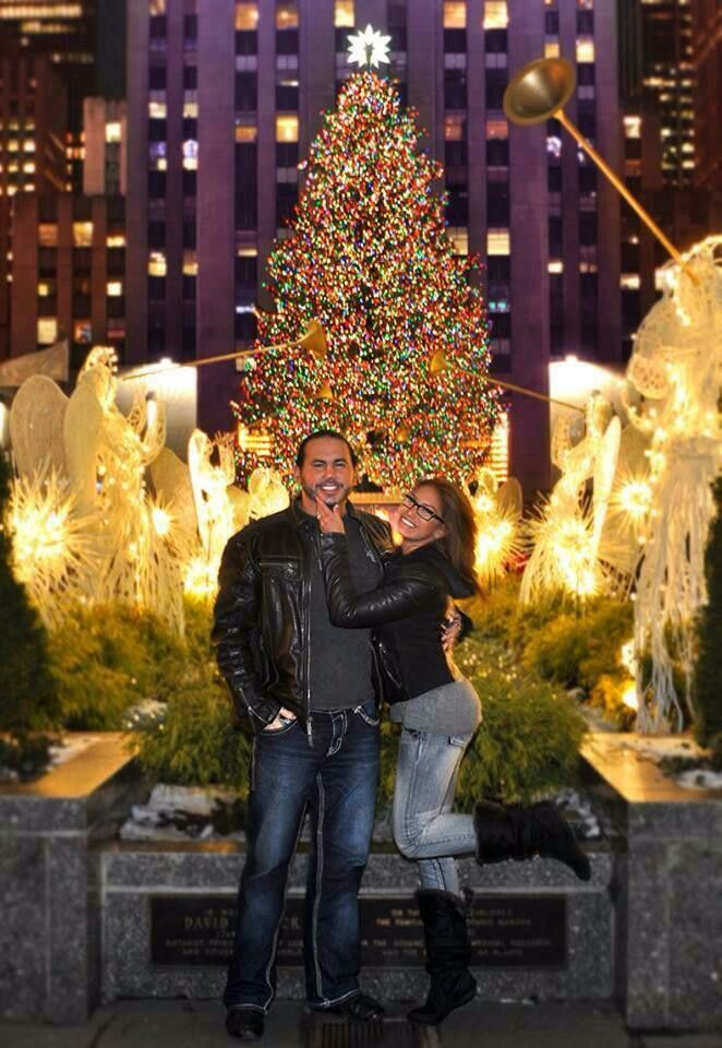 Former WWE Superstar Matt Hardy and his wife Reby Sky (Rebecca Reyes-Hardy) in Times Square during Christmas