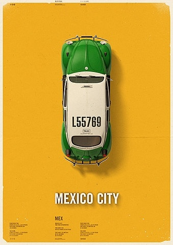 green Beatle taxi in Mexico