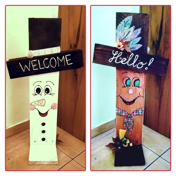 funny wooden two-sided figures Fall-an Winter-man