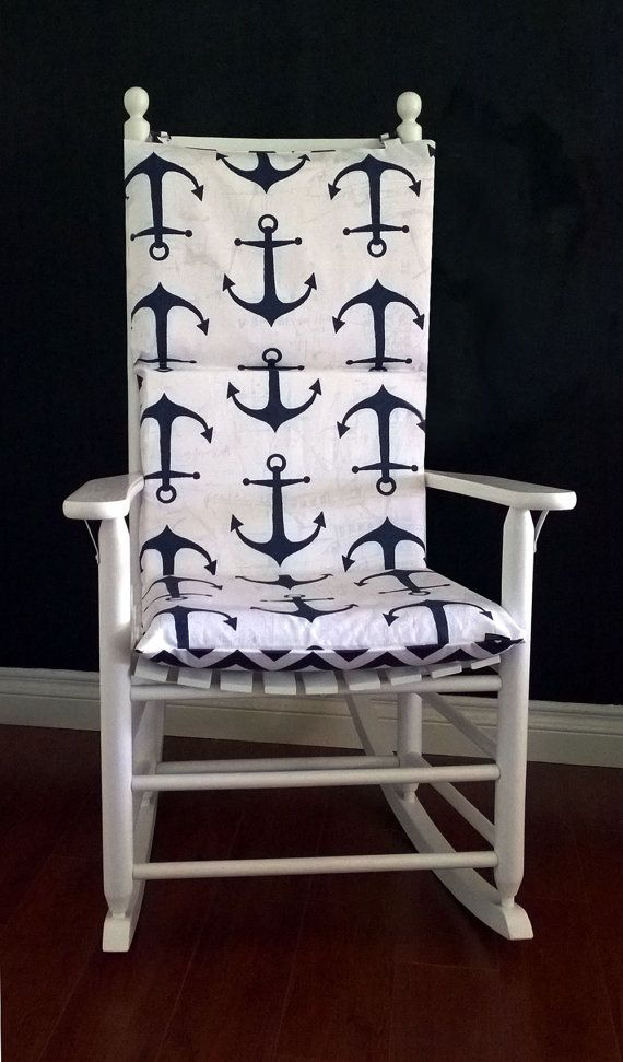Rocking Chair Cushion for nautical baby nursery.  Navy Anchor Chevron by RockinCushions, $75.00