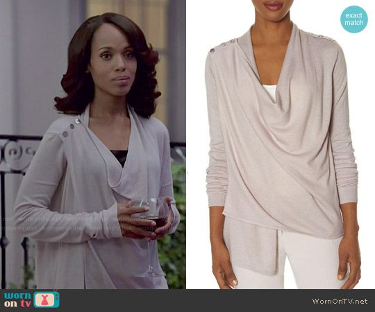 Olivia's shoulder button cardigan on Scandal.  Outfit Details: http://wornontv.net/49052/ #Scandal