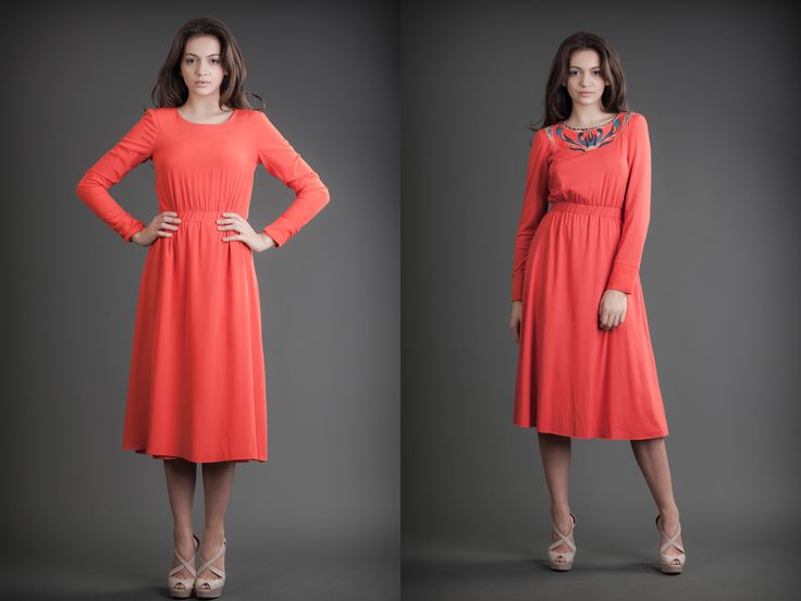 2 in 1 Dress Silk & Jersey Orange