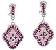 Judith Ripka Sterling Pink Mother of Pearl & Gemstone Earrin - J334206