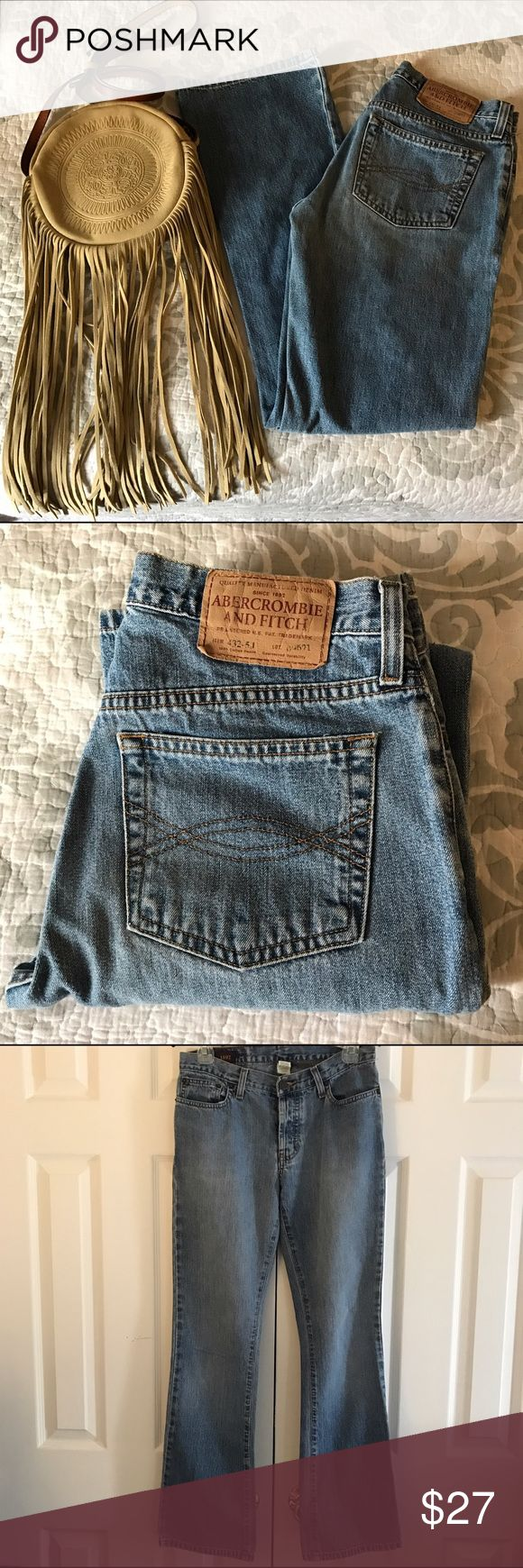 """Abercrombie& Fitch Distressed Jeans size-0R Abercrombie & Fitch Distressed Bootcut button fly  Jeans in size-0R with Inseam approx.- 31"""" worn 1-2x's max then put away & from smoke free home, comes as shown & cross body bag is also for sale upon request. Abercrombie & Fitch Jeans Boot Cut"""