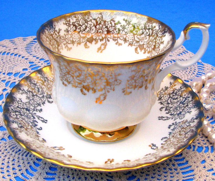 Royal Albert White & Gold Floral Chintz Teacup & Saucer Fluted Tea Cup & Saucer | Pottery & Glass, Pottery & China, China & Dinnerware | eBay!
