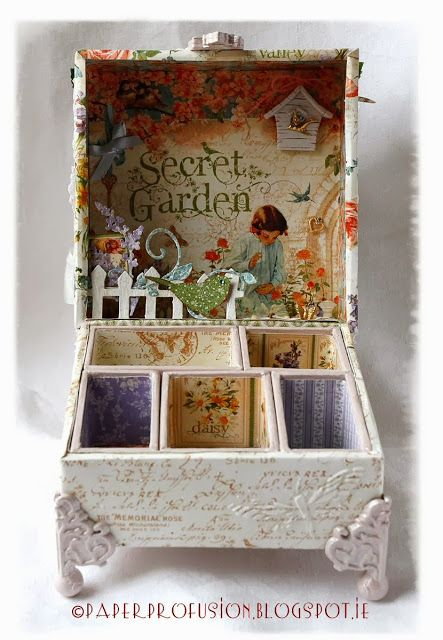 inside of Nicola's stunning Secret Garden configuration box