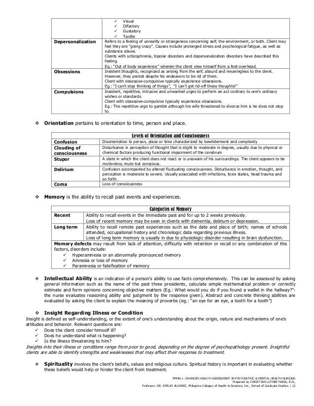 Sample Mental Health Assessment  Health    Mental