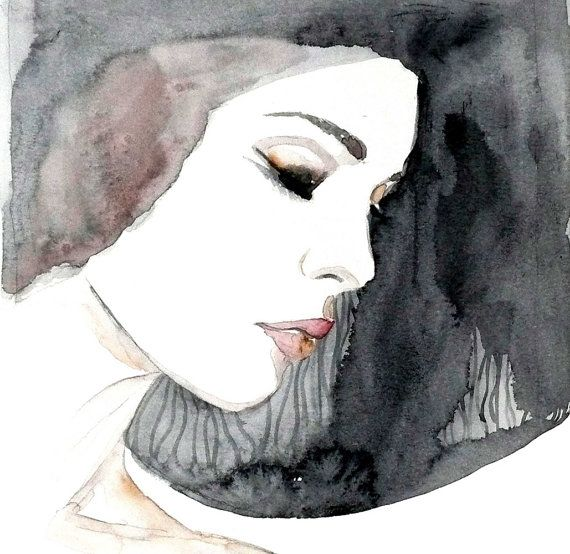 Fashion portrait woman ART PRINT 12X16 original watercolor painting illustration home wall