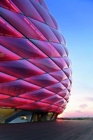 LOVE ❤️ #yasssss pink neon life! erzog & de Meuron World Cup and architecture Allianz Arena, Soccer Stadium for Munich Munich-Fröttmaning, Germany. Photo © Duccio Malagamba