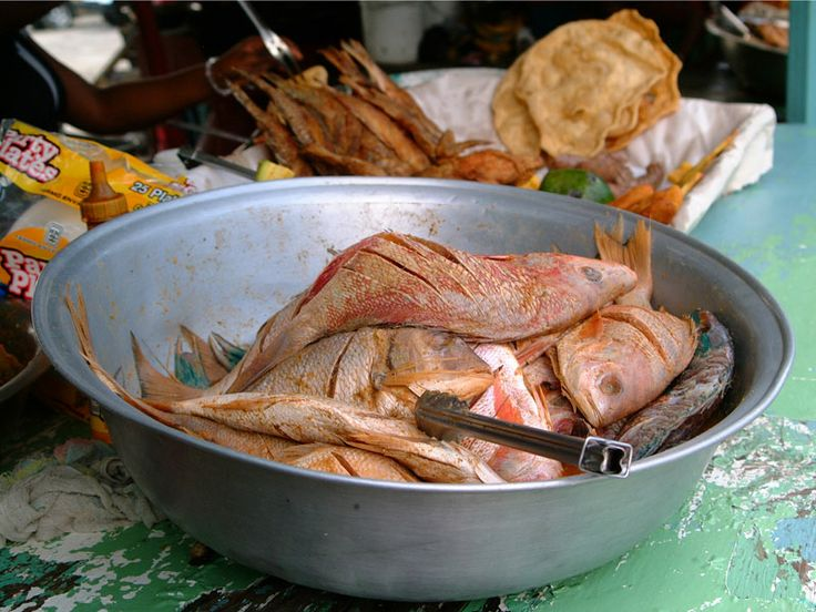 DOMINICAN REPUBLIC: Boca Chica Beach in Santo Domingo, D'Wendy's Fried Fish with sweet potato & Avocado. A real city-beach where all the local(s) families come out on Sunday.