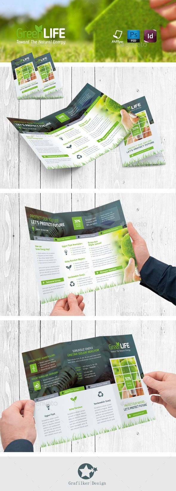 Green Energy Tri-Fold Templates — PSD Template