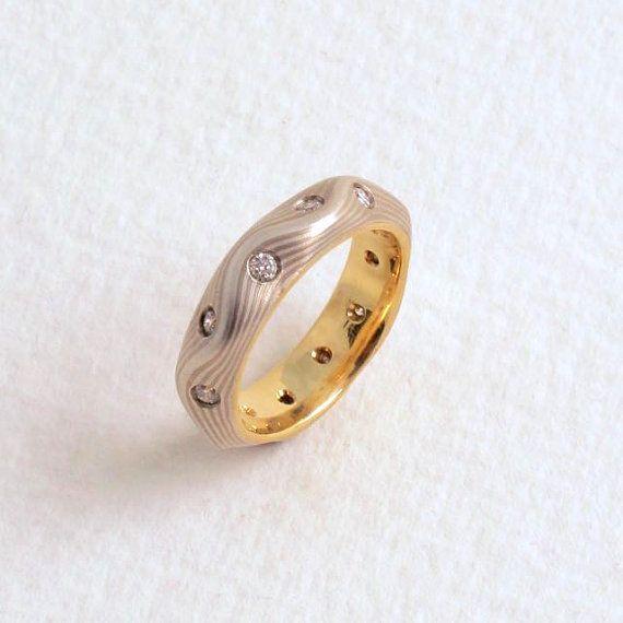 Mokume Gane Ring With Diamonds // S Curve Guri by DBAGoldsmith