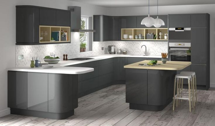 Lucido senza handleless style kitchen in graphite dark for Kitchen units grey gloss