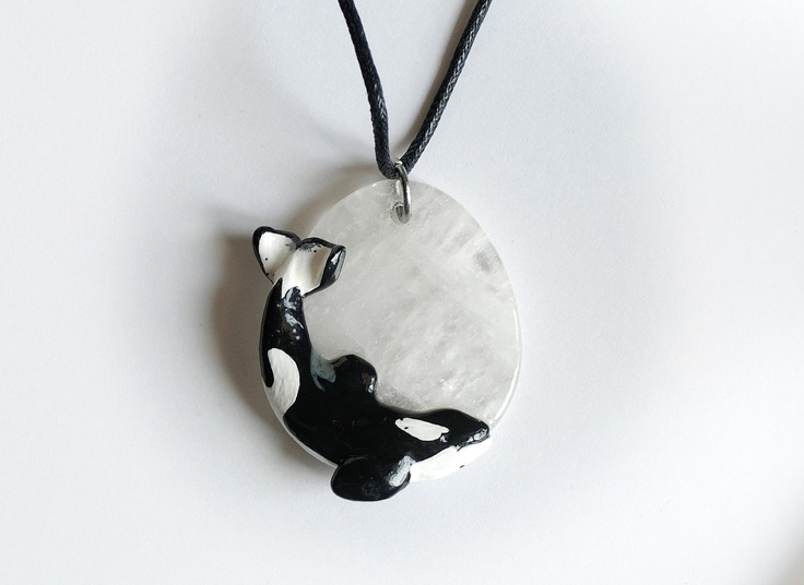 Keiko Orca (Free Willy) Pendant on Quartz Whale Necklace. $65.00, via Etsy.