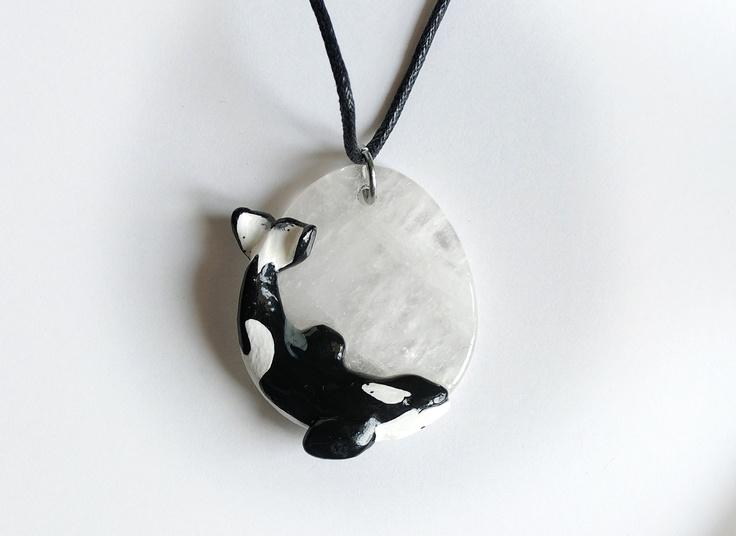 Keiko Orca (Free Willy) Pendant on Quartz Killer Whale Necklace. $65.00, via Etsy.