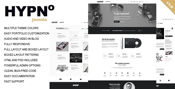 HYPNO is a clean and unique JOOMLA template, fully responsive, easily customizable, based on popular Bootstrap 3 grid. Hypno features Ajax driven portfolio, Slider Revolution, Flex Slider, Owl Carousel.